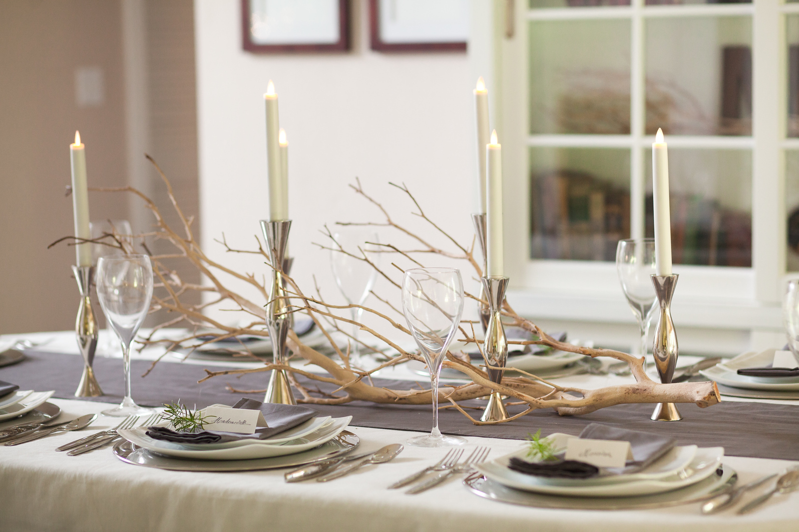 Whimsical Manzanita Branch Provides Table Top Decor