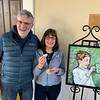 CCA in-house artist Donna Berger (next to her cupcake painting) with husband Bruce Berger of Chelmsford