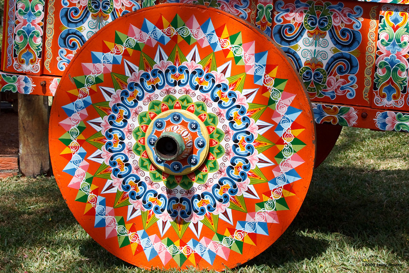 Details of a painted ox cart in Sarchi