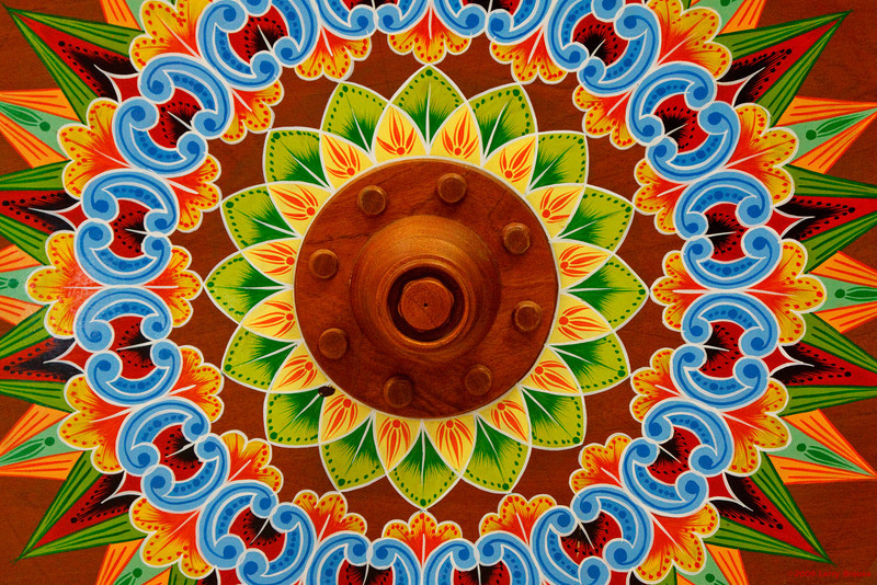 Details of a painted ox cart wheel