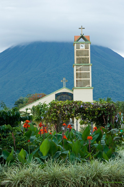 Arenal volcano provides a scenic backdrop for the town of Fortuna