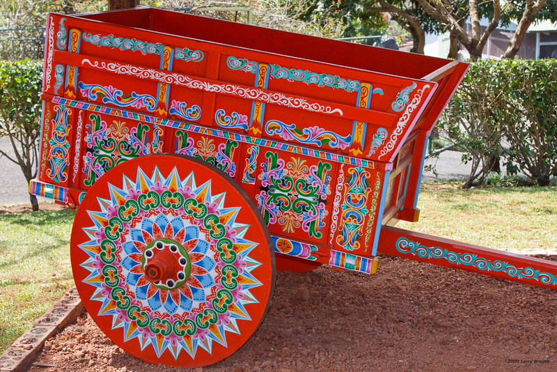 Ox cart on display in Sarchi
