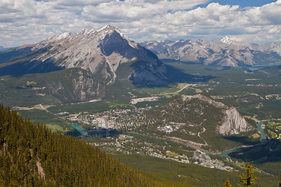 Mount Rundle and the town of Banff as seen from the Banff Gondola