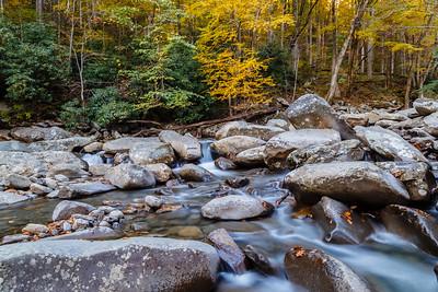 Mountain stream running alongside the Chimneys Picnic Area