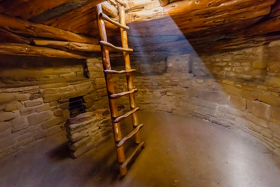 Inside a kiva at Spruce Tree House ruins