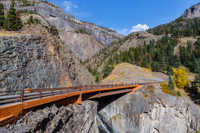 Bridge over Bear Creek Falls on the Million Dollar Highway