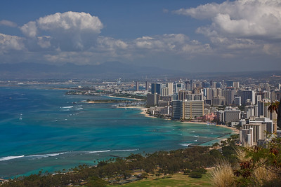 Honolulu and Waikiki Beach, as seen from the top of Diamond Head