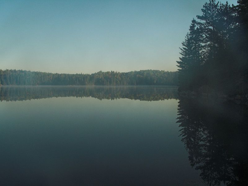 Morning mist and Tom Thompson Lake, Algonquin Provincial Park