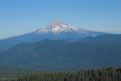 Mt. Hood (elev. 11,235') as seen from Sherrard Viewpoint (elev. 4,055') on Larch Mountain