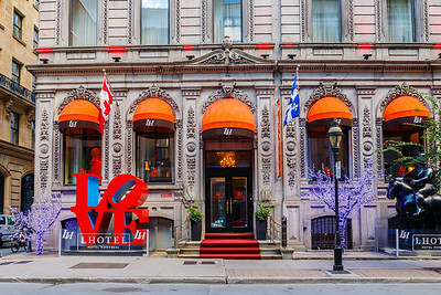 Colorful shops and hotels brighten downtown Montreal