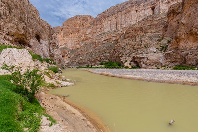 The Rio Grande flows through Boquillas Canyon in Big Bend National Park