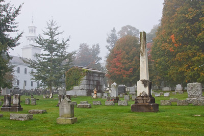 Early morning fog adds an eeriness to the Old First Church cemetary in Bennington