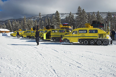 Snow Coaches lined up and ready to go!