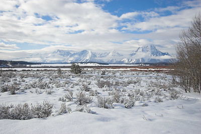The winter view from Willow Flats Overlook in Grand Teton NP.