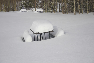 The snow makes it a little tough to have a picnic!