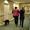 Marci brings her therapy dogs, Rocky (black) and Tee Tee (blond) several times a week