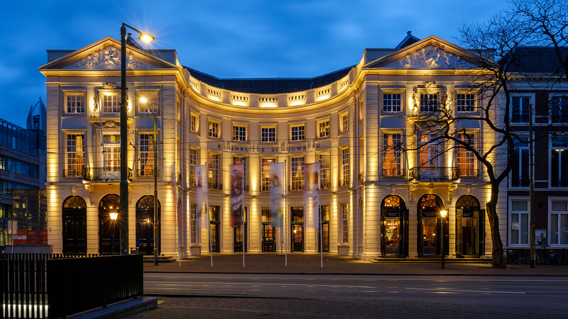 Koninklijke Schouwburg (Royal Theatre) at dusk.  The Hague.