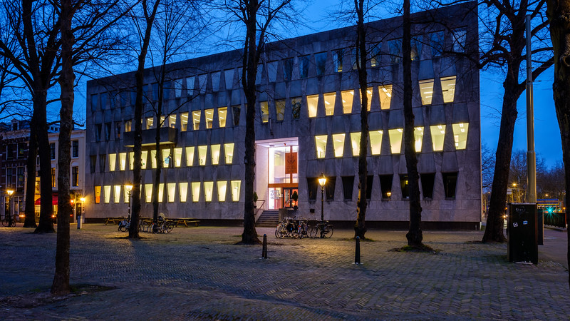 Former American Embassy at dusk
