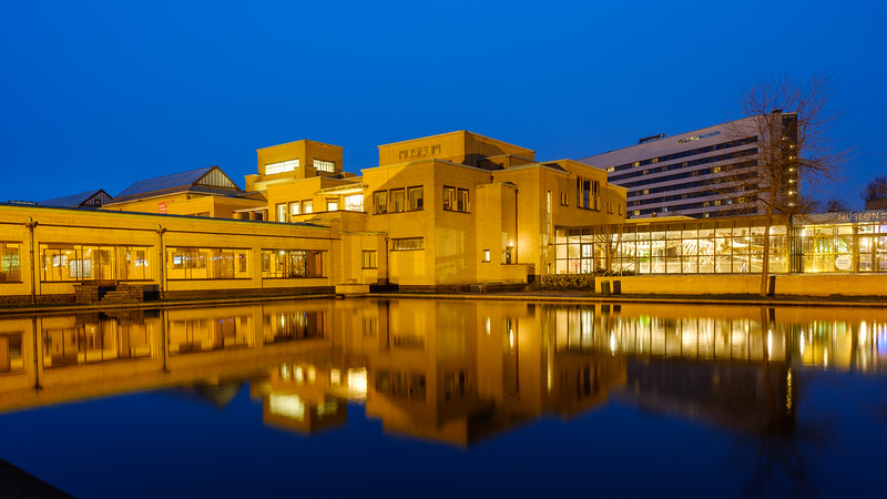 Kunst Museum of The Hague at dusk.