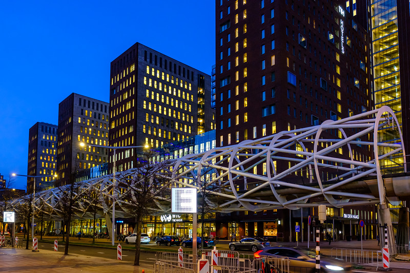 'Netkous' tram viaduct at dusk. The Hague.