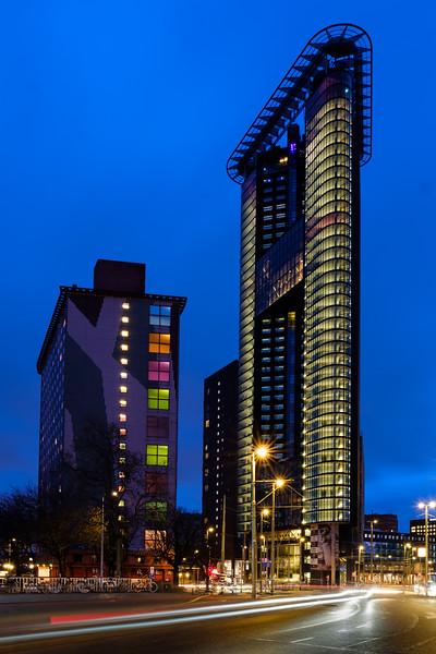 Haagse Toren, Strijkijzer at dusk The Hague.