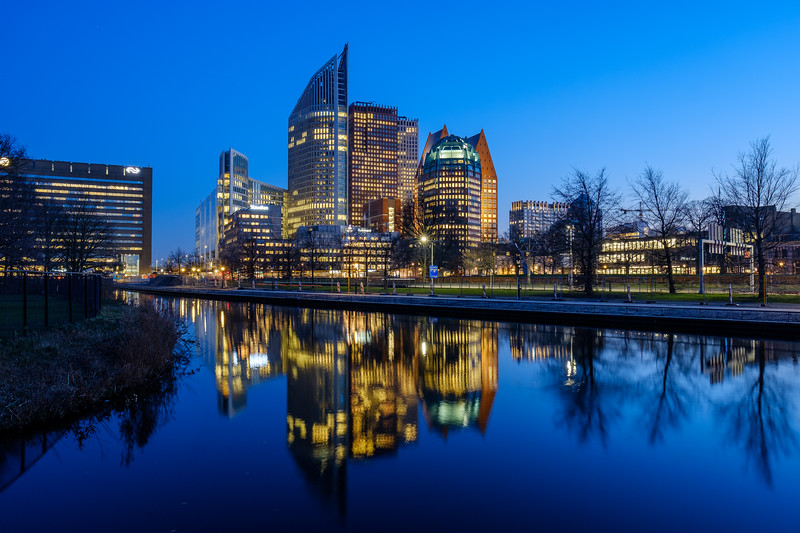 Office buildings at dusk. The Hague.