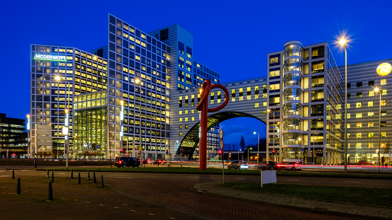 Haagse Poort at dusk. The Hague.