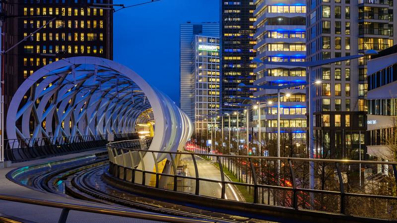 'Netkous' tram viaduct at dusk. The Hague.