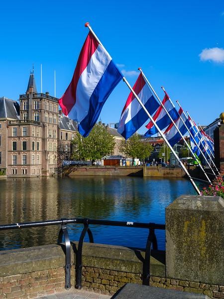 Netherlands Flags on the Hofvijver dam