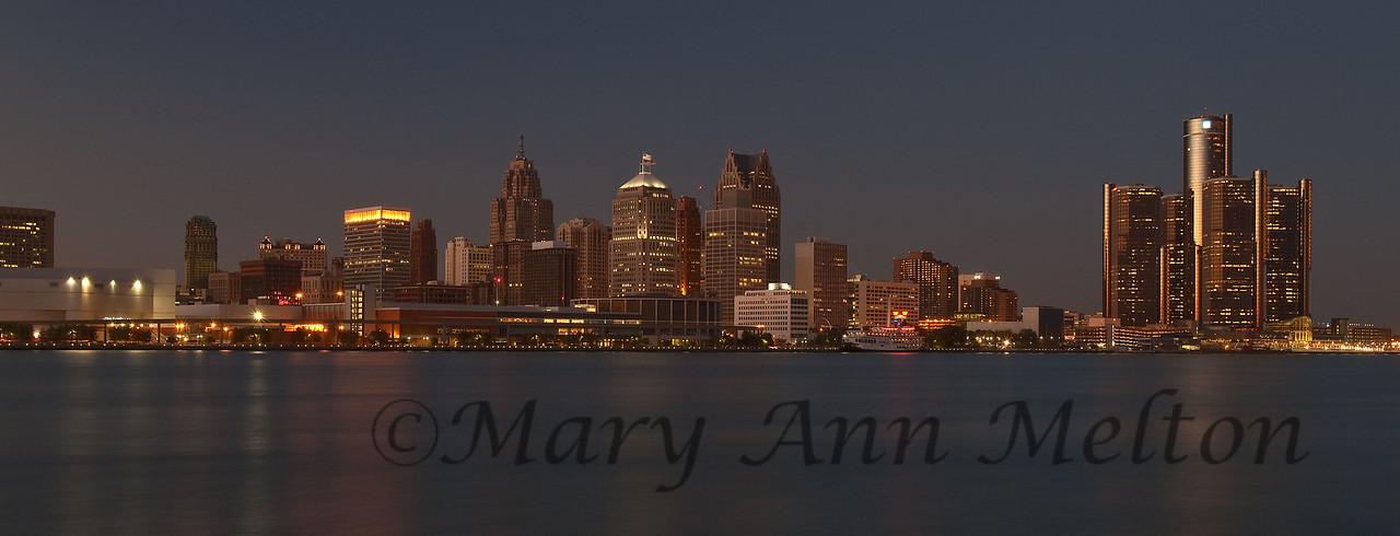 Detroit, Detroit River, Michigan, cityscape