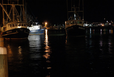 A couple of foxes. Two fishing boats in Hyannis