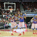 The Globetrotters broke out in a dance during the game.
