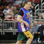 Kent Taylor was all smiles as he left the court. He scored three points and played great defense in playing for the Washington Generals. The Globetrotters gave him a Globetrotters jersey to wear after he scored from the floor and prior to his free throw s