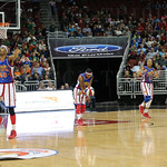 The Globetrotters prepared to bring the ball upcourt during the second quarter.