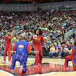The Harlem Globetrotters performed some ball handling drills prior to the game.