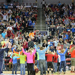 The crowd was invited come out onto the floor and dance during a timeout.