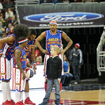 Caeden Lorenz joined the Globetrotters on the court during the fourth quarter.