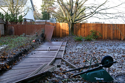Dec 15 - A big wind storm took out the old rotten fence between us and our neighbors.