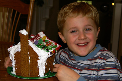 On Dec 12, we had friends over to make gingerbread houses.