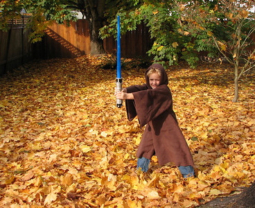 Ethan as Star Wars' Obi-Wan.  He dressed like this to go trick-or-treating at three of the neighbors' homes, and then he was done.  But he's having fun playing around in his cloak. November 1, 2006