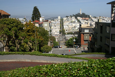 Driving down Lombard Street...the crookedest street in the world!  That's Coit Tower in the background.