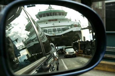 Leaving the ferry...view from my side view mirror.