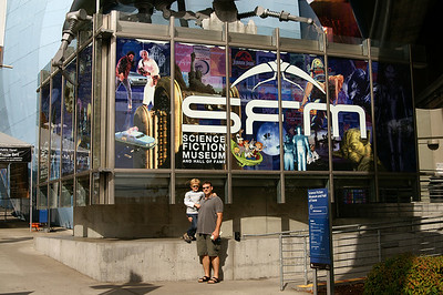 We didn't get a picture of the Science Fiction Museum sign yesterday, so we did today!
