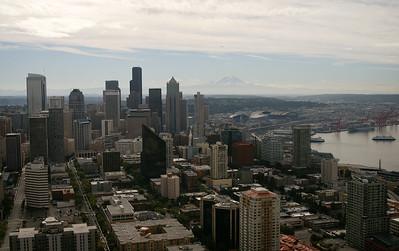 A view of downtown with Mt. Rainier in the background, from atop the Space Needle.