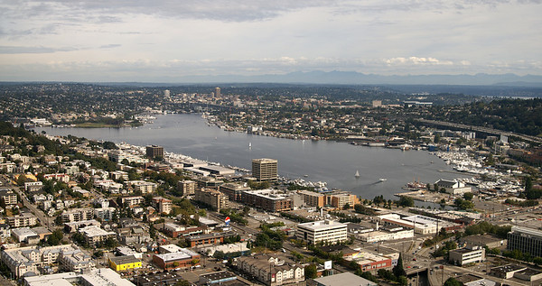 View of Lake Union from the Space Needle.