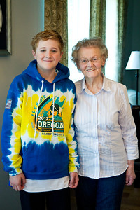 Ethan is officially taller than Grandma Great!
