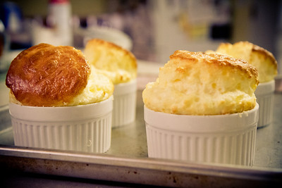 Seth made beautiful cheese souffles!