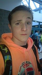 Pic from Jen Champlin...Ethan doing the eyebrow trick.