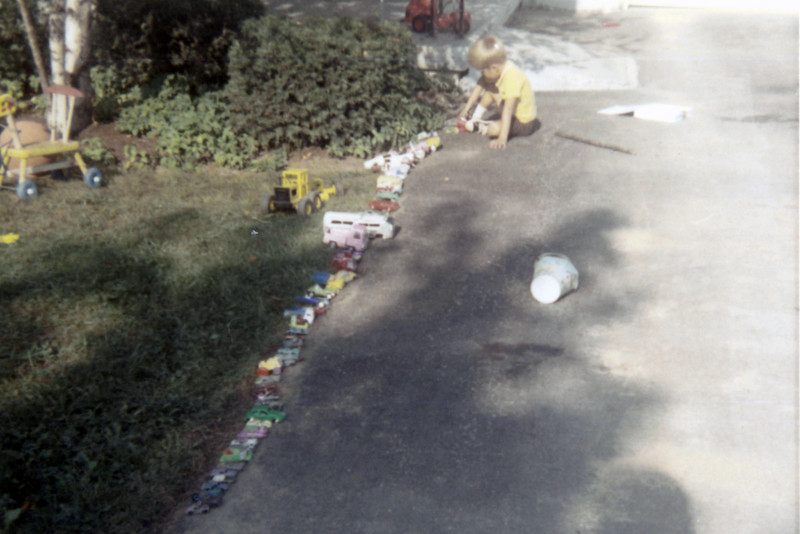 October 1970:  My addiction to the automobile started early.  By age 4, I had already amassed quite a collection.