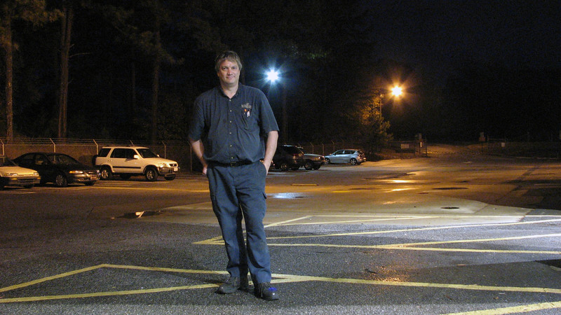 November 16, 2011:  I used the camera's self-timer to take a night selfie while at work.